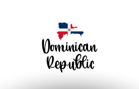 Der große Text des Landes der Dominikanischen Republik mit Flagge in der Karte, geeignet für ein Logo-Icon-Design Logo