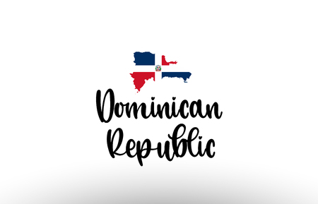 The Dominican Republic country big text with flag inside map suitable for a logo icon design