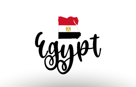 Egypt country big text with flag inside map suitable for a logo icon design