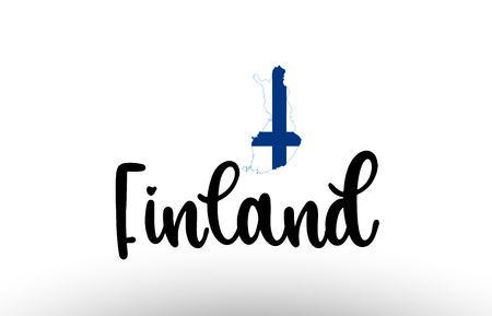 Finland country big text with flag inside map suitable for a logo icon design