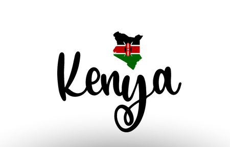 Kenya country big text with flag inside map suitable for a logo icon design
