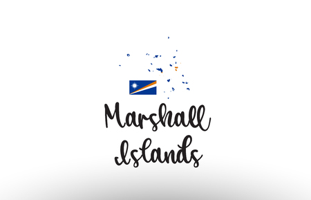 The Marshall Islands country big text with flag inside map suitable for a logo icon design  イラスト・ベクター素材