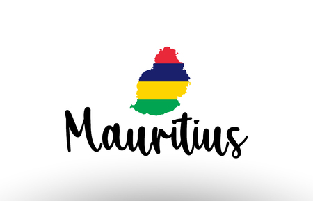 Mauritius country big text with flag inside map suitable for a logo icon design