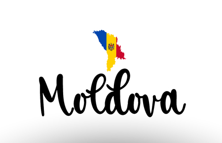 Moldova country big text with flag inside map suitable for a logo icon design