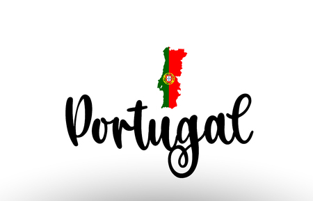 Portugal country big text with flag inside map suitable for a logo icon design Illustration