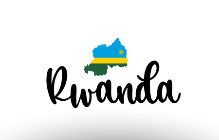 Rwanda country big text with flag inside map suitable for a logo icon design