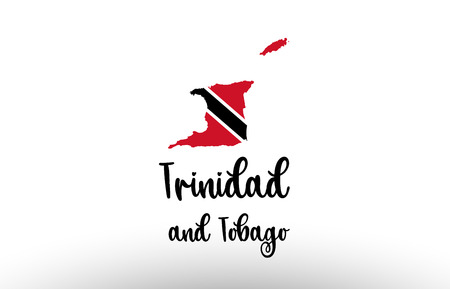 Trinidad and Tobago country big text with flag inside map suitable for a logo icon design