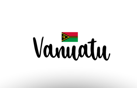 Vanuatu country big text with flag inside map suitable for a logo icon design
