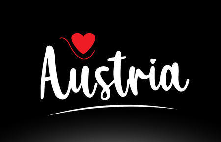 Austria country text with red love heart on black background suitable for a logo icon or typography design