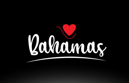Bahamas country text with red love heart on black background suitable for a logo icon or typography design