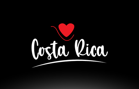 Costa Rica country text with red love heart on black background suitable for a logo icon or typography design Illusztráció