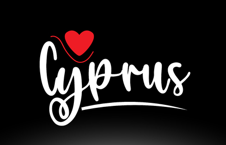Cyprus country text with red love heart on black background suitable for a logo icon or typography design Vettoriali