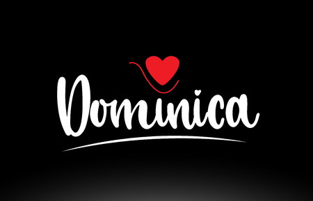 Dominica country text with red love heart on black background suitable for a logo icon or typography design