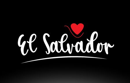 El Salvador country text with red love heart on black background suitable for a logo icon or typography design