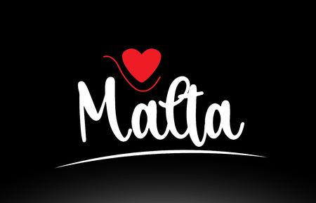 Malta country text with red love heart on black background suitable for a logo icon or typography design