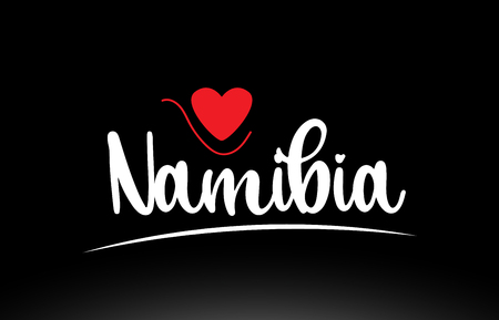 Namibia country text with red love heart on black background suitable for a logo icon or typography design