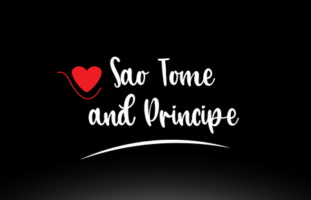 Sao Tome and Principe country text with red love heart on black background suitable for a logo icon or typography design Ilustração