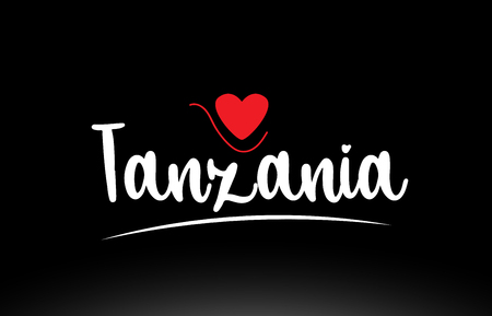 Tanzania country text with red love heart on black background suitable for a logo icon or typography design