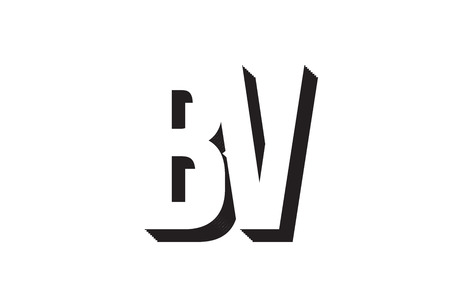 Black and white bv b v alphabet letter combination suitable as a logo for a company or business
