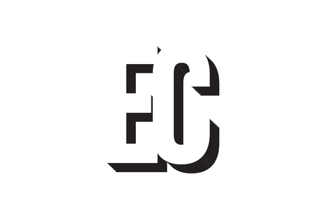 Black and white ec e c alphabet letter combination suitable as a logo for a company or business