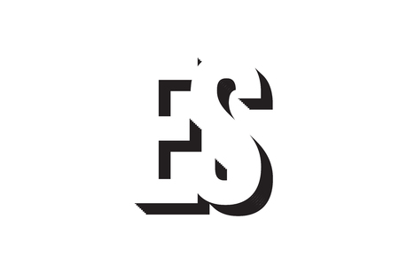 Black and white es e s alphabet letter combination suitable as a logo for a company or business