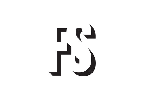 Black and white fs f s alphabet letter combination suitable as a logo for a company or business