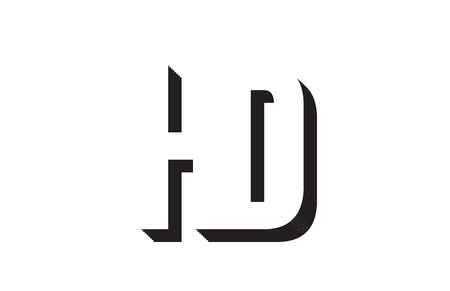 Black and white hd h d alphabet letter combination suitable as a logo for a company or business