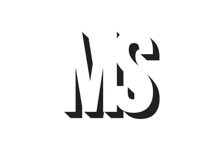 Black and white ms m s alphabet letter combination suitable as a logo for a company or business