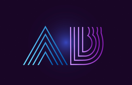 ab a b line blue pink design of alphabet letter combination with gradient color suitable as a logo for a company or business Illustration