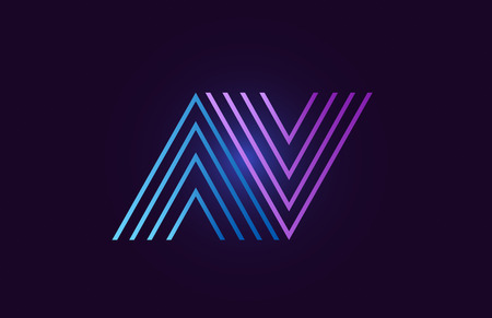 av a v line blue pink design of alphabet letter combination with gradient color suitable as a logo for a company or business Illustration