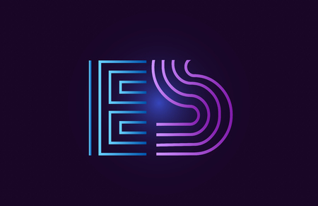 es e s line blue pink design of alphabet letter combination with gradient color suitable as a logo for a company or business