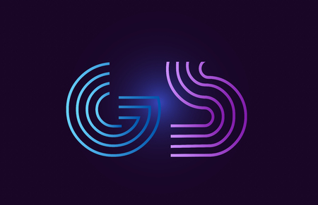gs g s line blue pink design of alphabet letter combination with gradient color suitable as a logo for a company or business