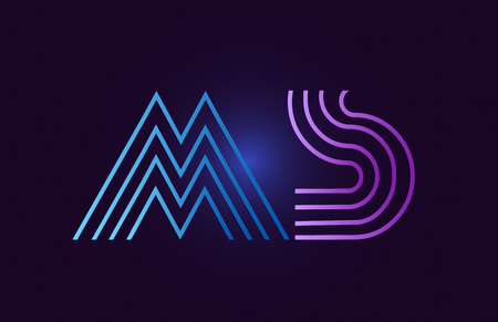 ms m s line blue pink design of alphabet letter combination with gradient color suitable as a logo for a company or business