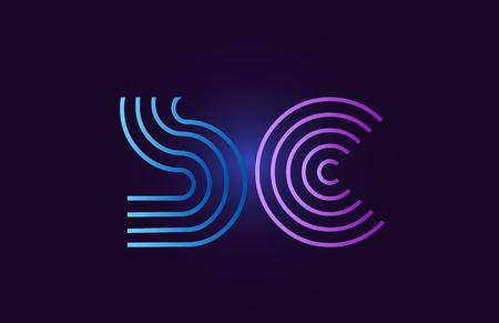 sc sc lijn blauw roze ontwerp van alfabet letter combinatie met kleur voor de kleurovergang geschikt als logo voor een bedrijf of bedrijf