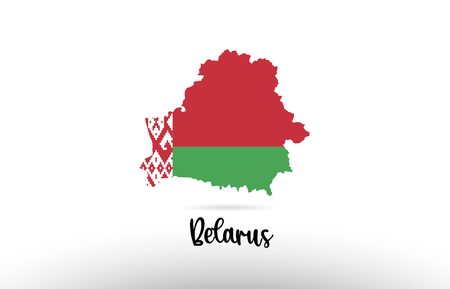 Belarus country flag inside country border map design suitable for a logo icon design Иллюстрация