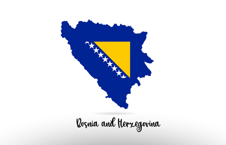 Bosnia and Herzegovina country flag inside country border map design suitable for a logo icon design