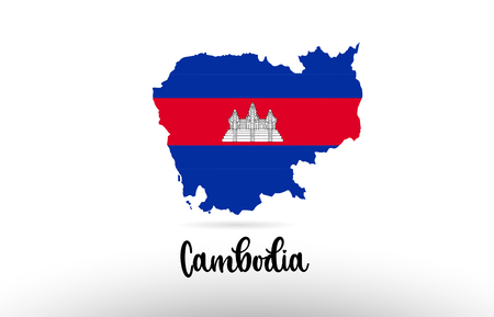 Cambodia country flag inside country border map design suitable for a logo icon design