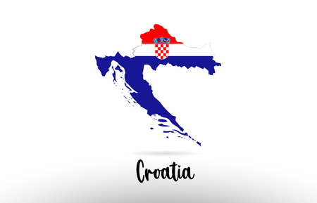 Croatia country flag inside country border map design suitable for a logo icon design Illustration