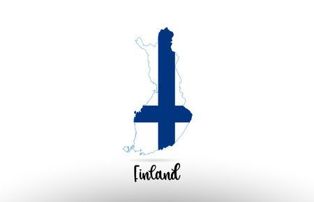 Finland country flag inside country border map design suitable for a logo icon design