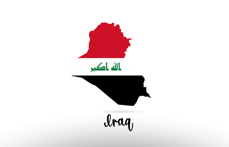 Iraq country flag inside country border map design suitable for a logo icon design