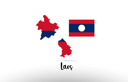 Laos country flag inside country border map design suitable for a logo icon design