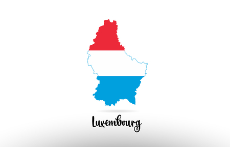Luxembourg country flag inside country border map design suitable for a logo icon design
