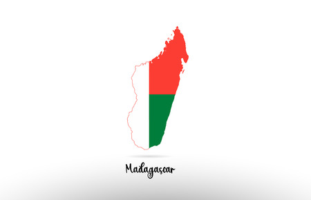 Madagascar country flag inside country border map design suitable for a logo icon design