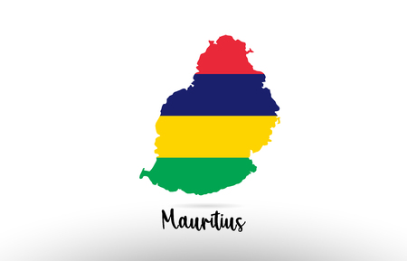 Mauritius country flag inside country border map design suitable for a logo icon design Illustration