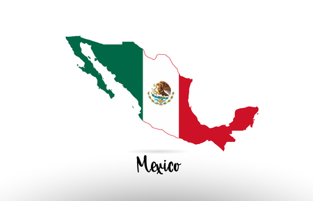 Mexico country flag inside country border map design suitable for a logo icon design