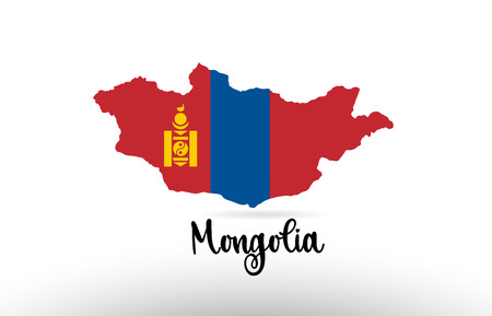 Mongolia country flag inside country border map design suitable for a logo icon design