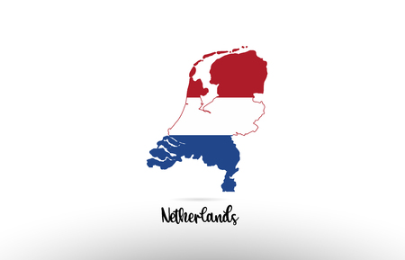 Netherlands country flag inside country border map design suitable for a logo icon design Stock Illustratie