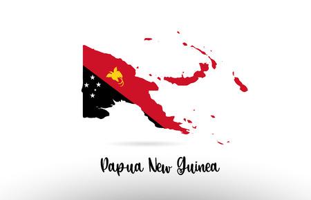 Drapeau de pays de Papouasie-Nouvelle-Guinée à l'intérieur de la conception de carte de frontière de pays appropriée à une conception d'icône de logo