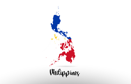 Philippines country flag inside country border map design suitable for a logo icon design