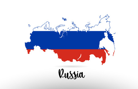 Russia country flag inside country border map design suitable for a logo icon design